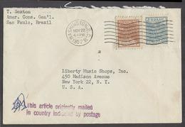 Brazil - XX. 1952. SP - USA. Fkd Env Diplomatic US Mail. Fine Cancelled At USA, DC. - Brésil