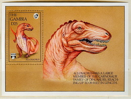 Gambia 1992 Allosaurus Souvenir Sheet Sc 8.00$ - Gambie (1965-...)