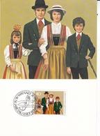 Liechtenstein 1980 Traditional Costumes Set Of 3 Maximum Cards And Original Envelope - Maximum Cards
