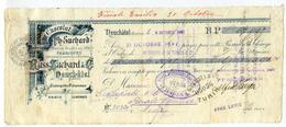 ASSEGNO CAMBIALE SUCHARD CHOCOLAT NEUCHATEL SVIZZERA ANNO 1897 CON MARCHE DA BOLLO CENT. 5 CENT. 10 - Assegni & Assegni Di Viaggio