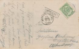 035/29 - CANTONS DE L' EST - Carte Fantaisie TP Armoiries VERVIERS 1908 - Griffe De Gare MORESNET Et Cachet Idem - Poststempel