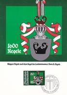 Liechtenstein 1981 Arms Of Landemmanner Set Of 4 Maximum Cards And Original Envelope - Maximum Cards