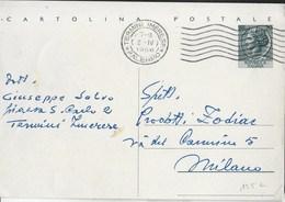 STORIA POSTALE REPUBBLICA - ANNULLO MECCANICO A 7 CURVE TERMINI IMERESE/PALERMO 02.04.1956 SU INTERO TURRITA LIRE 20 - 6. 1946-.. Repubblica