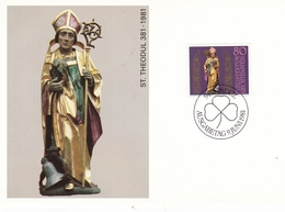 Liechtenstein 1981 Scouts And Guides/ Year Of The Disabled/St Theodul Set Of 3 Maximum Cards And Original Envelope - Maximum Cards