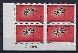"Madagascar Coins Datés YT 420 "" Insecte "" Neuf** Du 20.11.1965 - Madagascar (1960-...)"