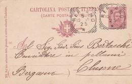 INTERO POSTALE CENT. 10 - BERGAMO - VIAGGIATA PER CLUSONE ( BERGAMO) - 1878-00 Humbert I