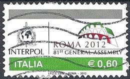 Italia, 2012 INTERPOL, 0,60 €  # Sassone 3368 - Michel 3579 - Scott 3155  USATO - 1946-.. République