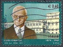 Italia, 2012 Luigi Einaudi, 0,60 €  # Sassone 3329 - Michel 3540 - Scott 3124  USATO - 1946-.. République