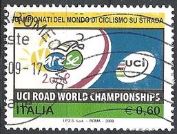 Italia, 2008 Mondiali Di Ciclismo Su Strada, 0,60 €  # Sassone 3059 - Michel 3268 - Scott 2899  USATO - 6. 1946-.. Repubblica