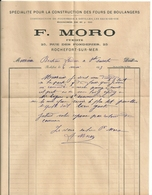 Lettre Avec Type Sage Et Facture Moro,Spécialité Pour La Construction Des Fours De Boulangers, Rochefort , 1893 - 1876-1898 Sage (Tipo II)