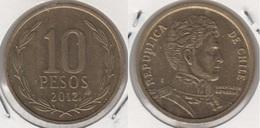 Cile 10 Pesos 2012 (Normal Rim) KM#228.2 - Used - Chile