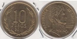 Cile 10 Pesos 2011 (Normal Rim) KM#228.2 - Used - Chile
