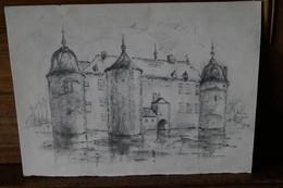 Lavaux Sainte-Anne,oeuvre Dessin Crayon Originale De André Gérard,, 26,5 Cm./ 19,5 Cm. - Dessins