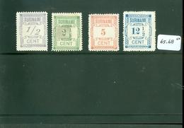 SURINAME SERIE 65 - 68 ONGEBRUIKT MET PLAKKERREST - Suriname ... - 1975