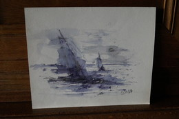 Superbe Oeuvre Dessin Aquarelle,marine,1989, Originale De André Gérard, 24,5 Cm./ 20 Cm. - Acquarelli