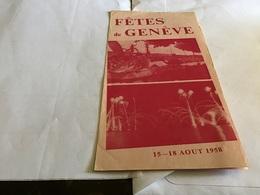 Fête De Genève 1958 Prix Des Entrées Facilités De Transport Train CFF à Tarif Réduit - Suisse
