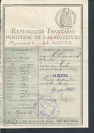 PERMIS DE CHASSE DE Mr CHIGNARD ALEXANDRE LE LUDE FAIT À LA FLÈCHE : - Cartes