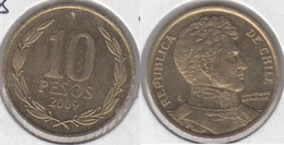 Cile 10 Pesos 2009 (Normal Rim) KM#228.2 - Used - Chile