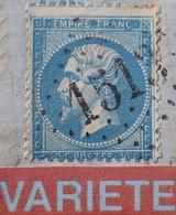 R1917/157 - NAPOLEON III N°22 Sur ✉️ De FLAVIGNY-S-OZERAIN à LYON - VARIETE ➤ Grosse Retouche Du Pourtour (RARE +++) - 1862 Napoléon III