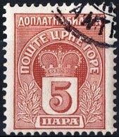 MONTENEGRO, SEGNATASSE, POSTAGE DUE STAMP, 1907, 5 Pa. FRANCOBOLLO USATO Mi. P19,  Scott J19, YT T20 - Montenegro