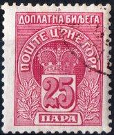 MONTENEGRO, SEGNATASSE, POSTAGE DUE STAMP, 1907, 25 Pa. FRANCOBOLLO USATO Mi. P21,  Scott J21, YT T22 - Montenegro