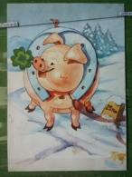 Kov 8-145 - New Year, Bonne Annee, Cochon, Pig, PORC, Fer à Cheval, Horseshoe, CLOVER, TREFLE - Anno Nuovo