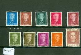 SURINAME SERIE 285 - 294 ONGEBRUIKT MET PLAKKERREST * C.W.  EURO 55.00 - Suriname ... - 1975