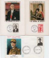 Lot De 3 Cartes 1 Er Jour - 1971 - Hommage Au Général DE GAULLE - - FDC