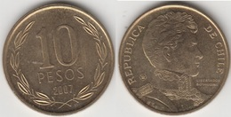 Cile 10 Pesos 2007 (Normal Rim) KM#228.2 - Used - Chile
