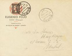 Sobre . 1937. Sobre Sin Circular Con Membrete Que Incluye Una Preciosa Impresión Del 6 Cuartos Negro De 1850 Y La Leyend - Spain