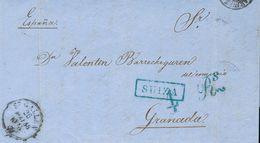 Sobre . 1858. SAINT GALLEN (SUIZA) A GRANADA. Marca Rectangular SUIZA, En Azul De La Junquera, Aplicada Para Indicar El  - Spain