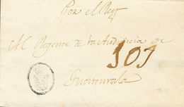 """Sobre . (1812ca). MADRID A GUATEMALA. Marca De CORREO REAL (similar A La P.E.42) Y Porteo Manuscrito """"101"""". MAGNIFICA Y  - Spain"""