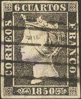 º1(5). 1850. Conjunto De Cinco Sellos Del 6 Cuartos Negro Inutilizados Con Los Matasellos Baeza De Valladolid, PARRILLA  - Spain