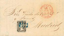 """Sobre 1. 1850. 6 Cuartos Negro. SEVILLA A MADRID. Matasello """"11"""" (limado), En Azul De Sevilla. MAGNIFICA. - Spain"""
