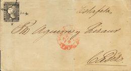 """Sobre 1A. 1850. 6 Cuartos Negro (doblez De Archivo). MALAGA A CADIZ. En El Frente Manuscrito """"Estafeta"""". MAGNIFICA. - Spain"""