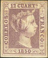 *2. 1850. 12 Cuartos Lila. Color Muy Intenso Y Amplios Márgenes. PIEZA DE LUJO. Cert. COMEX. - Spain