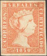 *3. 1850. 5 Reales Rojo (manchita En La Esquina Superior Derecha). Color Intenso Y Grandes Márgenes. MAGNIFICO. Cert. CE - Spain
