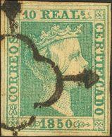 º5. 1850. 10 Reales Verde (leve Claridad). MAGNIFICO. Cert. CEM. Edifil 2019: 2.100 Euros - Spain
