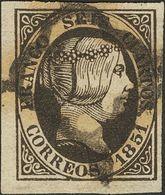 º6. 1851. 6 Cuartos Negro. PIEZA DE LUJO. - Spain