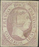 º7. 1851. 12 Cuartos Lila. Grandes Márgenes Y Matasello Muy Leve. MAGNIFICO. - Spain