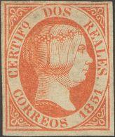 *8. 1851. 2 Reales Rojo (ínfimo Puntito Claro). Espectacular Presencia Con Amplios Márgenes Y Color Intenso. MAGNIFICO Y - Spain