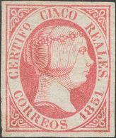 º9. 1851. 5 Reales Rosa (matasello Lavado). Bonita Presencia. MAGNIFICO. Dictamen CEM. - Spain