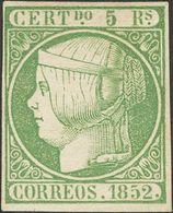 *15. 1852. 5 Reales Verde. MAGNIFICO. Cert. CEM. - Spain