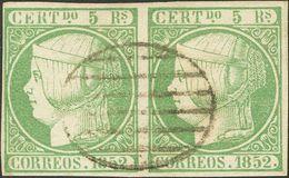 º15(2). 1852. 5 Reales Verde, Pareja. Matasello PARRILLA, Muy Limpia. MAGNIFICA. Edifil 2014: 435 Euros - Spain