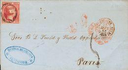 Sobre 17. 1853. 6 Cuartos Rosa Carmín. SANTANDER A PARIS (FRANCIA). Según Convenio Con Francia, En Vigor Desde Enero De  - Spain