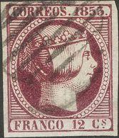 º18. 1853. 12 Cuartos Violeta. Grandes Márgenes Y Color Intenso. MAGNIFICO. Cert. CEM. - Spain