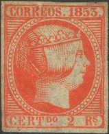*19. 1853. 2 Reales Bermellón (ínfimo Puntito Claro). Espectacular Presencia Con Amplios Márgenes Y Color Intenso. MAGNI - Spain