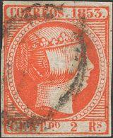 º19. 1853. 2 Reales Bermellón (leve Pliegue En La Esquina Superior Derecha). MAGNIFICO. Cert. CEM. - Spain
