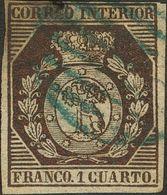 º22. 1853. 1 Cuarto Bronce (margen Superior Reparado). Matasello PARRILLA, En Azul. MAGNIFICO Y MUY RARO. Edifil 2014: 1 - Spain