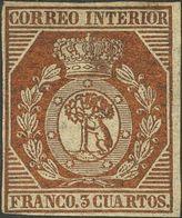 *23. 1853. 3 Cuartos Bronce Dorado (leve Reparación). MAGNIFICO Y MUY RARO SELLO EN NUEVO. Cert. CEM. - Spain